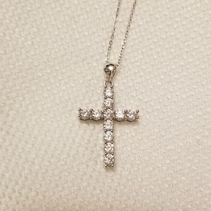 NWT CROSS NECKLACE STERLING SILVER AND CZ